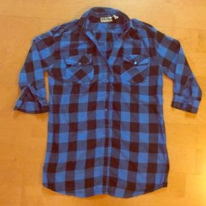 Tops - Blue Plaid Top Size Small